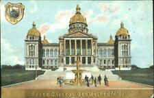 Des Moines,IA State Capitol Gold Embossed Warren,Polk County Iowa Postcard