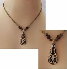 Gold & Black Celtic Knot Pendant Necklace Jewelry Handmade NEW Accessories