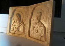 Wooden Carved  Icons Saint Nicholas, Mother of God Seven Arrows. Pictures.