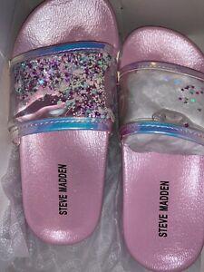 Steve Madden Girls SZ. 3, 4, or 5 ~ Pink Sandal Slide On Glitter Shimmery ~NWT~