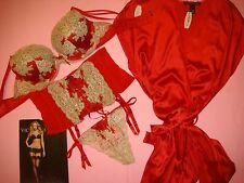 Victoria's Secret 36D BRA SET+garter cincher+M ROBE RED GOLD VERY SEXY SEDUCTION