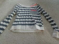 REWIND long sleeve striped shirt - jr. sz S - Very cute! TAN/GREY STRIPPED W/O