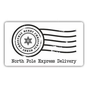 65 x NORTH POLE SPECIAL DELIVERY MINI CHRISTMAS STICKERS LABELS 38mm x 21mm