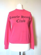 H&M Womens Lonely Hearts Fine-knit Jumper Sweater Size 6 Uk BNWT RRP £23.98 Pink
