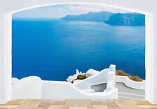Giant wallpaper mural for bedroom & living room Santorini Greece coast blue sea