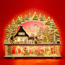 SIKORA LB88 Wooden Christmas Arch Decoration LED Illumination - Forest House