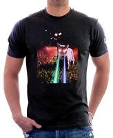 Laser space cat black cotton printed t-shirt FN9818