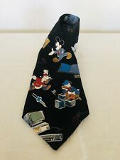 Mickey Unlimited Disney Black Silk Neck Tie 58 Inch Length 4 Inches Wide