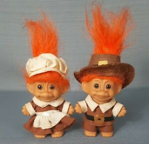 Pair Of Vintage Orange Hair Troll Dolls Thanksgiving/ Pilgrim 18360 Russ