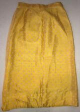 Vintage Arbé Yellow White Polka Dot Silk Skirt 8 Lined