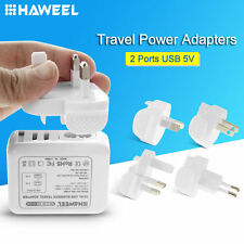 HAWEEL 2 Ports USB 5V Wall Charger Adapter (UK + EU + US + AU Plug) For Phone