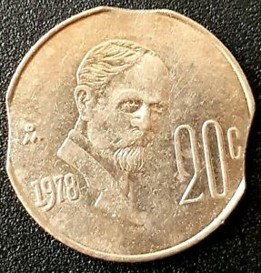 1978 MEXICO 20 Centavos  THREE CUT ERROR COIN Clipped Very Interesting! Nice!