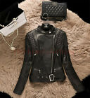 women Black Slim bike motorcycle genuine leather jacket zipper jacket