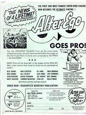 Alter Ego Fanzine Promotional Flyer 1968- Gil Kane- Joe Kubert Comic Art