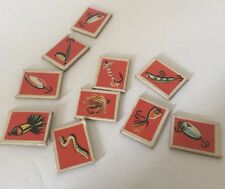 1959, Whitman, Lucky Fisherman Game Parts & Pieces Lot Red Bait 10 Pieces