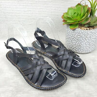 Born Women's Strappy Black Leather Low Wedge Slingback Sandals Sz 7 M EU 38 EUC