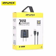 Awei USB Dual Fast Charger + Cable For Asus Vivo Oppo iPhone iPad Smartphone Tab