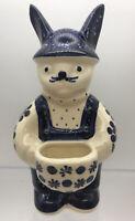 Polish Pottery Wiza Poland Bunny Rabbit Toothpick Holder Hand Made Blue
