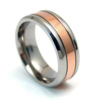 Rose Gold PVD Comfort Fit Ring Titanium Band 2 Tone Select Size 9 10 11 12