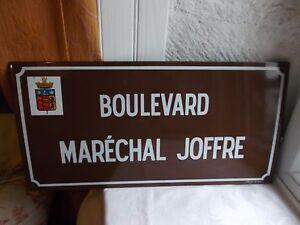 """French porcelain enamel street sign """"Boulevard Marechal Joffre"""" vintage"""