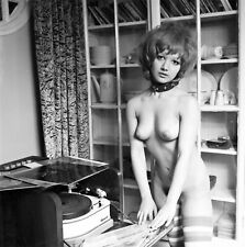 1960s Pinup nude playing records on old Garrard turntable 8 x 8 Photograph
