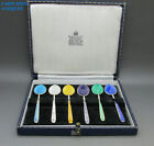 GARRARD & CO SUPERB SET 6 SOLID SILVER & GUILLOCHE ENAMELED COFFEE SPOONS 1970