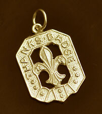 WOW 24K Gold Plated Boy or Girl Scout Thanks Badge Charm Jewelry fleur de lis Le
