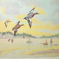 Martin Garvey painting gouache The Estuary Fowey mid 20th century vintage