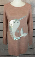 Lauren Conrad Pink Narwhal Sequined Pullover Sweater Women's Size L NWT