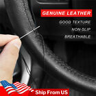 Diy Genuine Leather Car Steering Wheel Cover Needle Thread Anti-slip Black 15us