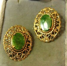 Vintage Jade Green Agate Stone Gold tone filigree Clip on  Earrings 12a 71