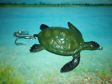 """CRAFTED / 4"""".TOP WATER LIGHT GREEN TURTLE. #5  HOOK / MUSKY PIKE LURE !"""