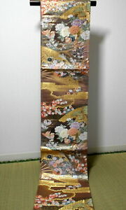 "Japanese Kimono SILK Fukuro OBI, Rokutu ,Pure Gold/Lame, Plants,Birds,165"".1450"