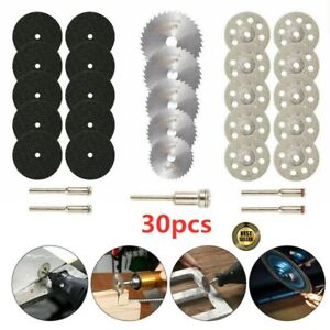 30x Diamond Cutting Discs Wheel Saw Blades Set+Drill Bit For Dremel Rotary Tool