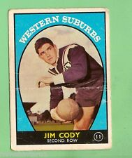 #D126. 1968 SERIES 1 RUGBY LEAGUE CARD #11  JIM CODY, WESTERN SUBURBS