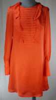 REISS SARA Silk Retro A Line Dress Ruffle Detail Long Sleeves UK 8