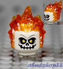 LEGO - Flaming Skull Head w/ Orange Hair Yellow Eyes Halloween Minifigure Alien