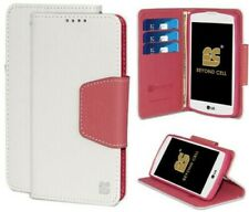 WHITE PINK WALLET CREDIT CARD ID CASE COVER FOR LG Transpyre/Tribute 4G LTE/F60
