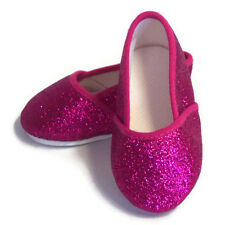 "Fuchsia Glitter Pink Slip On Shoes made for 18"" American Girl Doll Clothes"