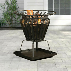 Steel Fire Pit Basket BBQ Outdoor Garden Patio Brazier Heater Wood Burner Stove