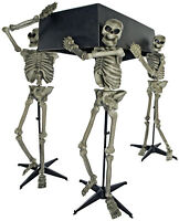 HALLOWEEN SKELETON PALL BEARERS WITH COFFIN HAUNTED HOUSE PROP DECORATION