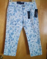NWT NEW womens denim blue white CHAPS slimming capris cropped jeans pants $69