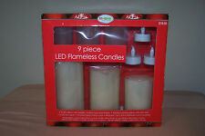 LED Flameless Candle 9 Piece Set New in Box 3-LED Pillars 3-LED Tea Lights 3-Cup