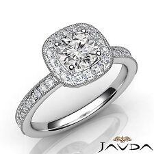 Sparkling Round Diamond Engagement Halo Pave Set Ring GIA E SI1 Platinum 950 1Ct