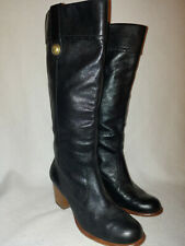 Women Coach Black Leather Fayth Tall Slip On Stacked Heel Boots Size 8.5 B