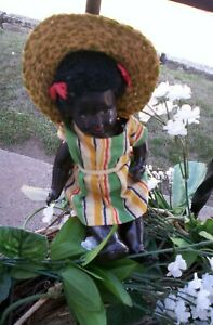 VINTAGE BLACK AFRICAN AMERICAN  DOLL CELLULOID/PLASTIC/STRUNG MARKED TOPS 9''