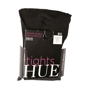 Hue Women Ultimate Opaque Control Top Tights Gray/Black Size 1 4521
