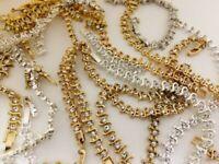 1/2 POUND VINTAGE RHINESTONE GOLD SILVER BROKEN CHAIN BRACELETS REPAIR LOT 4003