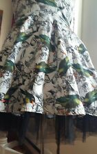 Hearts & Roses  Floral Bird Vintage style  Prom Flare Pin up Mini Dress Gown