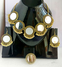 ,Earrings Adjustable Ring Combo M1 Indian Fashion Golden Wedding Mirror Necklace
